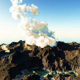 Volcanic eruption on island Stock Images