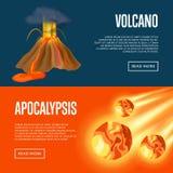 Volcanic eruption and meteorite apocalypse banners Stock Photos