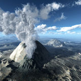 Volcanic eruptions. Beginning of the volcanic eruptions stock photography