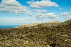 Volcanic fields in Lanzarote in Spain. Volcanoe in Lanzarote, Canary Islands, Spain Royalty Free Stock Image