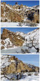Volcanic formation cliffs mountain snow collage Stock Photography
