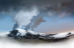 Volcanic Glacier. An illustration of a glacier emitting an ash cloud. Eyjafjallajokull Glacier, Iceland Royalty Free Stock Images