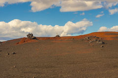 Volcanic ground on ptah to Vitio lake - Iceland. Royalty Free Stock Photography
