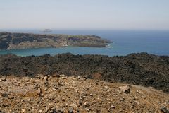 Volcanic ground of Santorini island, Greece Stock Photography