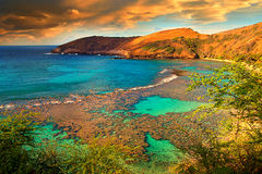 Volcanic Hanuman Bay, Hawaii. Hanuman Bay is a volcanic bay, a dead volcanoes is under the sea of Hanuman Bay Stock Photography