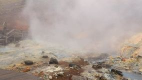 Volcanic hot mud pool. In Seltun, Iceland, boardwalk trail along the springs stock video footage