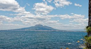 Island of Ischia seen from the Amalfi coast. Volcanic island of Ischia in the bay of Naples. Seen form the Amalfi coast near Sorento Royalty Free Stock Images