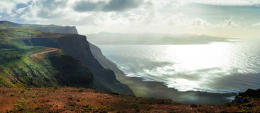 Volcanic island Lanzarote with impressive coast. Canary islands, Royalty Free Stock Images