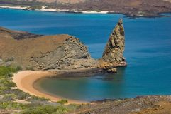 Volcanic island in ocean Royalty Free Stock Images