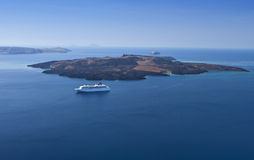 The volcanic island at Santorini. Greece Royalty Free Stock Images