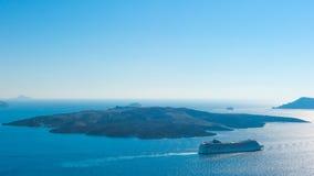Volcanic island in Santorini Greece royalty free stock images
