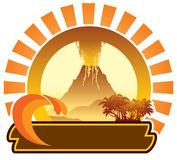 Volcanic island sign Royalty Free Stock Photo