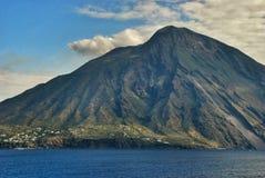 Volcanic island Stromboli Royalty Free Stock Photo