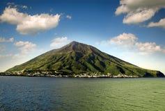 Volcanic island Stromboli Royalty Free Stock Images