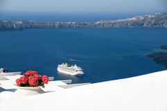 volcanic islands  santorini  cruise ship Stock Photos
