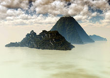 Volcanic islands surrounded by the sea Royalty Free Stock Photo
