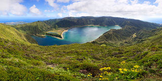 Volcanic lagoon on Azores island Royalty Free Stock Photography