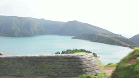 Volcanic Lake of Azores Island stock footage