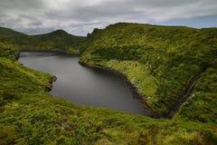 Volcanic lake Caldeira Comprida, Flores island, Azores, Portugal Stock Photo