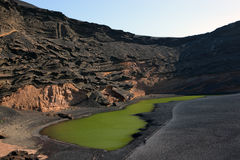Volcanic Lake El Golfo, Lanzarote Royalty Free Stock Photography
