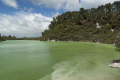 Volcanic lake. New Zealand Royalty Free Stock Photo