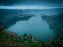 Volcanic lake. Sete Cidades twin crater lakes, Lagoa Verde and Lagoa Azul, as seen from Vista do Rei lookout - viewpoint, Sao Miguel Island, Azores, Portugal stock image