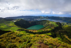 Volcanic Lakes from Seven Cities. In Sao Miguel, Azores, Portugal Stock Image