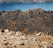 Volcanic land in europe santorini greece sky and mediterranean s Stock Photography
