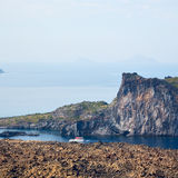 Volcanic land in europe santorini greece sky and mediterranean s Stock Images