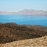Volcanic land in europe santorini greece sky and mediterranean s Royalty Free Stock Image