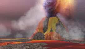 Volcanic Lands. Molten magma flows from an erupting volcano and smoke billows up into the sky Stock Photo