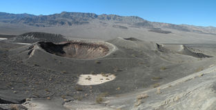 Volcanic Landscape. Panoramic photo of inactive volcano called Ubehebe Crater in Death Valley national park in California Royalty Free Stock Images