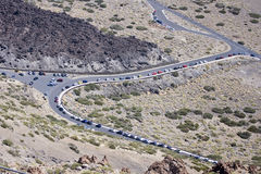 Volcanic landscape. In El Teide, Tenerife, road Royalty Free Stock Image