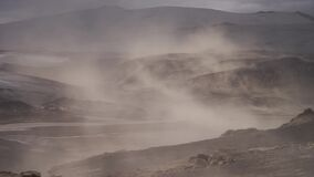 Volcanic landscape during ash storm on the Fimmvorduhals hiking trail. Iceland. Up to 30 miter per second