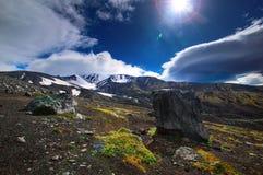 Volcanic landscape. Avachinsky Volcano - active volcano of Kamchatka Peninsula. Russia, Far East. Volcanic landscape. Avachinsky Volcano - active volcano of Stock Photo