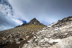 Volcanic landscape. Avachinsky Volcano - active volcano of Kamchatka Peninsula. Russia, Far East. Volcanic landscape. Avachinsky Volcano - active volcano of royalty free stock image