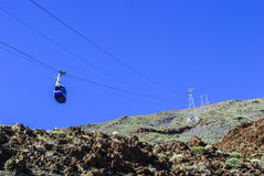 Volcanic Landscape - cable railway. Teide Nationalpark - bright daylight - no people Stock Photography