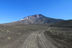 Volcanic landscape in Chile, ground covered with ash royalty free stock images