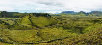 Volcanic landscape covered with moss Stock Photo