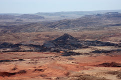 Volcanic landscape in Crater Ramon. Royalty Free Stock Images