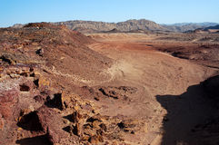 Volcanic landscape in Crater Ramon. Royalty Free Stock Photo