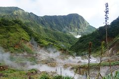 Volcanic landscape of dominica - island of the antilles in the caribbian royalty free stock image
