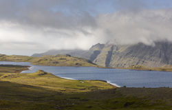 Volcanic landscape of fjord in Iceland Stock Image