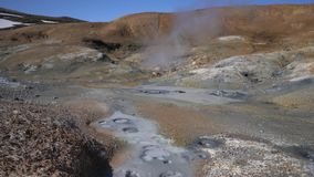 Volcanic landscape: hot springs surrounded by active fumaroles stock footage