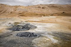 Volcanic landscape in Hverarond, Iceland. Volcanic landscape in Iceland, Myvatn. Hverarond boiling mud pots Stock Images