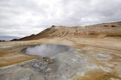 Volcanic landscape in Iceland. Myvatn. Hverarond boiling mud pots Stock Images