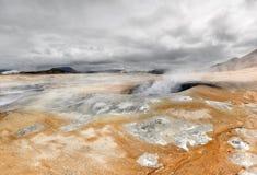 Landscape with boiling mud, Hverir - Namafjall - Iceland Royalty Free Stock Images