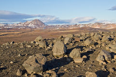 Volcanic landscape in Iceland. Volcanic landscape with basalt rocks and volcanoes near Lake Myvatn in Iceland Stock Photography