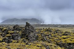 Volcanic landscape on Iceland. Volcanic and steamy landscape on Iceland Royalty Free Stock Photo