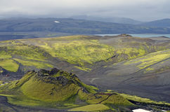 Volcanic landscape of Iceland. A black rock volcano covered with typical Green vegetation of Iceland Royalty Free Stock Photos